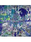 """Платок Hermes шелковый бирюзово-синий """"Анимаполис"""" 1766-140"""