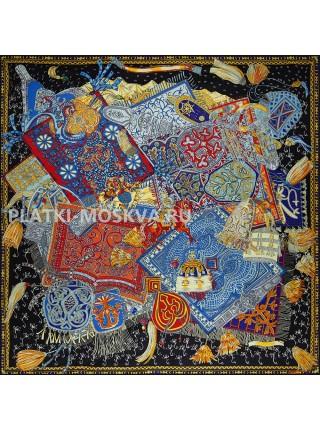Платок Hermes шелковый черный «Всадники Кавказа» 1761-140