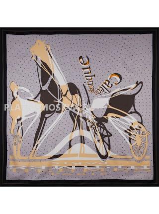 Платок Hermes шелковый серый «Caleche Elastique» 1754-140