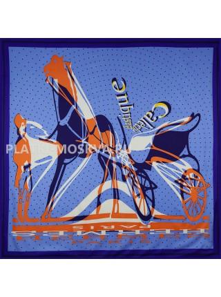 Платок Hermes шелковый синий «Caleche Elastique» 1755-140