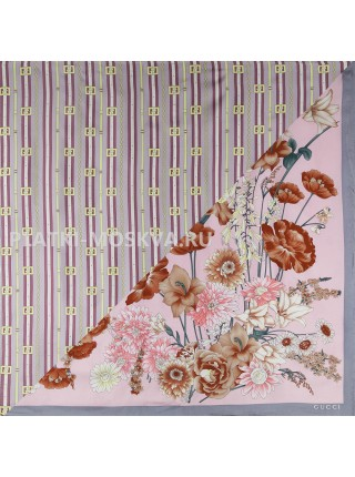 """Платок Gucci шелковый пудровый с серым двойной """"Flora"""" 1515-90"""