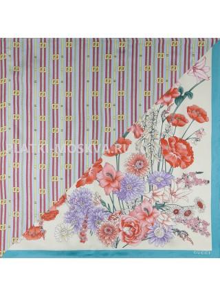 """Платок Gucci шелковый бежевый с бирюзовым двойной """"Flora"""" 1517-90"""