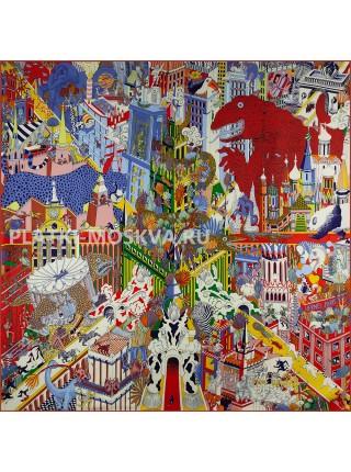 """Платок Hermes шелковый красный """"Анимаполис"""" 1768-140"""