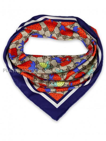 """Платок Gucci шелковый бежевый с красно-синим """"Клубника"""" 1719-90"""
