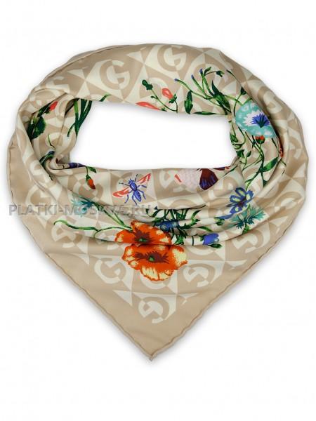 "Платок Gucci шелковый бежевый ""Флора"" 1722-90"
