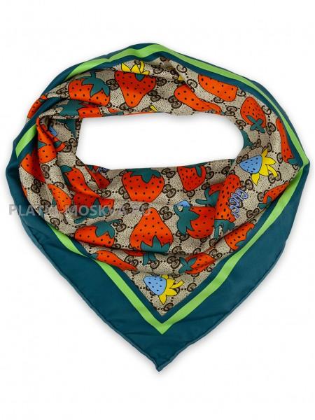 """Платок Gucci шелковый бежевый с красно-зеленым """"Клубника"""" 1718-90"""