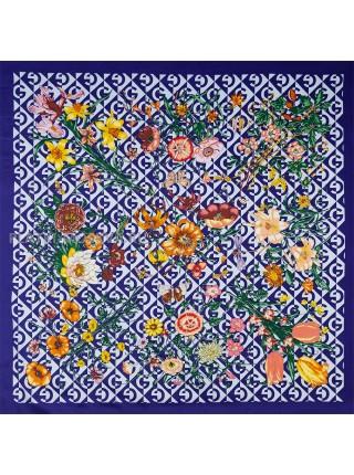 "Платок Gucci шелковый синий ""Флора"" 1720-90"
