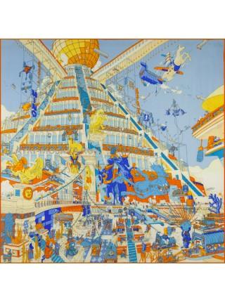 """Платок Hermes кашемировый голубой """"Шеваламские плюмажи"""" 3718"""