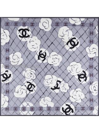 """Платок Chanel шелковый серый """"Buds"""" 1519-90"""