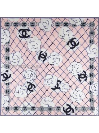 """Платок Chanel шелковый розовый """"Buds"""" 1518-90"""