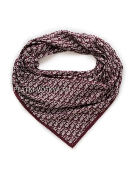 Платок Dior шелковый бордовый 1395-140
