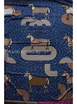 Платок Hermes шелковый темно-синий «Pop-art» 1383-140
