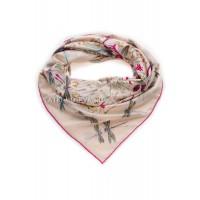 """Платок Hermes шелковый бледно-розовый """"Стрекозы"""" 1389-140"""