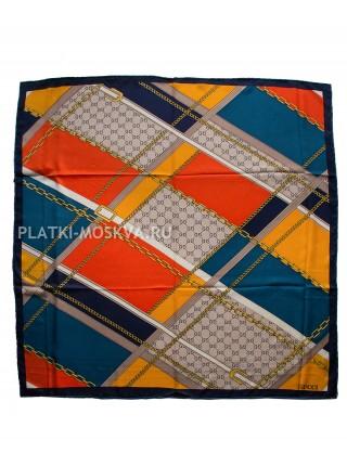 """Платок Gucci шелковый темно-синий с красным """"Ремни и цепи"""" 1938-90"""