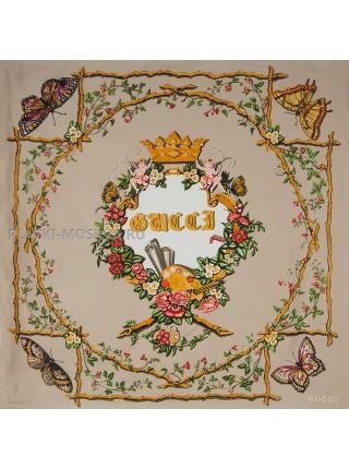 "Платок Gucci шелковый бежевый ""Бабочки"" 1998-90"