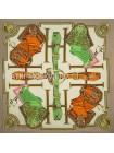 "Платок Hermes шелковый бежевый с белым ""Selle d'Officier"" 1707-140"