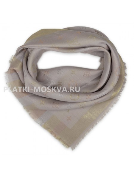 """Платок брендовый серый с золотом """"Хамелеон"""" 1085-100"""