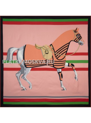 "Платок Hermes шелковый розовый ""Cheval a la Couverture"" 1706-140"