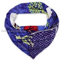 """Платок брендовый шелковый синий """"Сакура"""" 1235-90"""