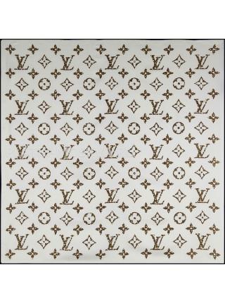"""Платок брендовый шелковый белый """"Monogram"""" 1773-90"""