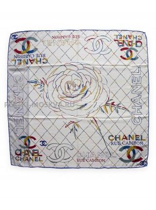 "Платок Chanel шелковый белый ""Ромбы"" 1737-90"