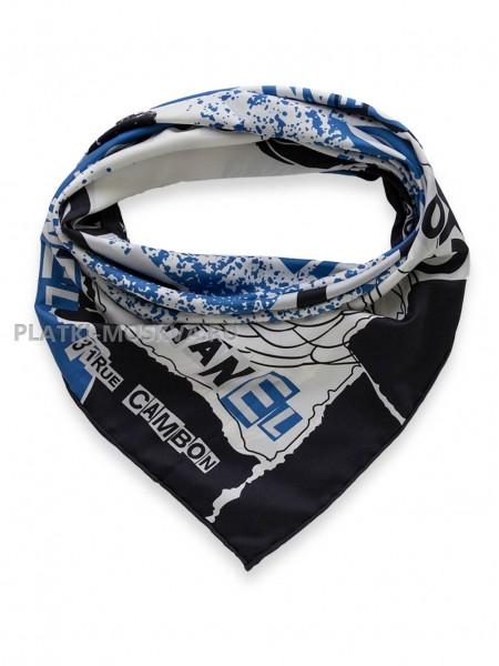 "Платок Chanel шелковый белый с синим ""CoCo"" 1734-90"