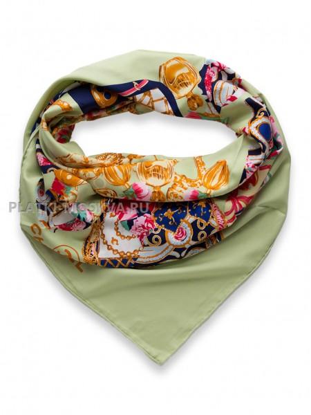 """Платок Chanel шелковый фисташковый """"Флакон"""" 1715-140"""