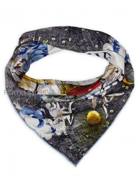 "Платок Hermes шелковый серый с голубым ""Christian Daos"" 1798-90"