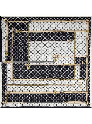 """Платок брендовый шелковый белый с черным """"Ремни"""" 1229-90"""