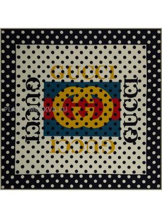 Платок Gucci шелковый бежевый с черным винтажный в горошину 1807-90
