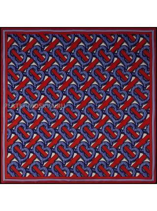 """Платок Burberry шелковый синий с красным """"Monogram"""" 1804-90"""