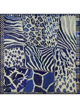 """Платок Hermes шелковый синий """"Pelages et Camouflage"""" 1811-140"""
