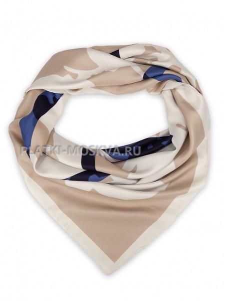 "Платок Valentino шелковый бежевый ""Logo"" 3654"