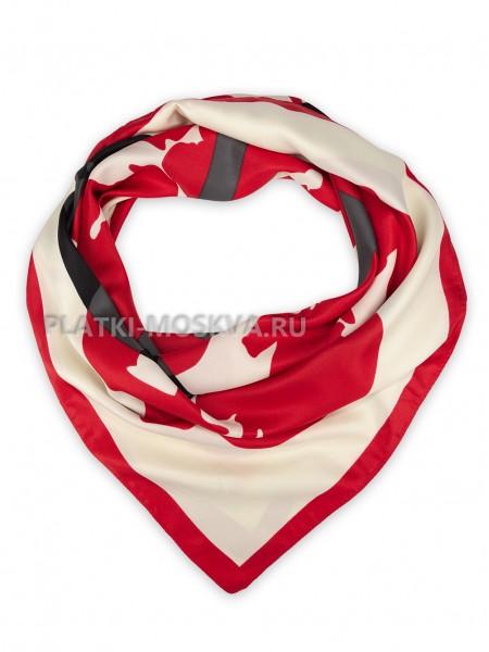 """Платок Valentino шелковый белый с красным """"Logo"""" 3657"""