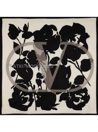 """Платок Valentino шелковый белый с черным """"Logo"""" 3656"""