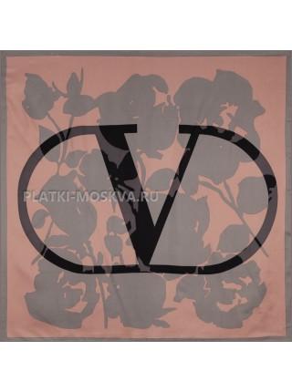 """Платок Valentino шелковый персиковый с серым """"Logo"""" 3650"""