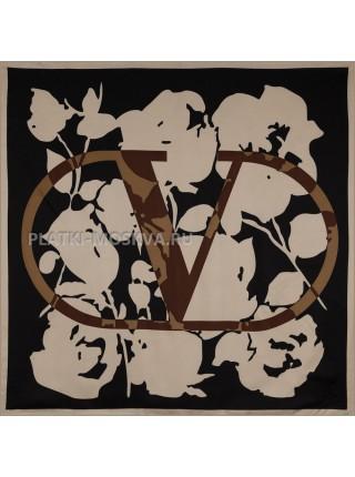 """Платок Valentino шелковый черный с бежевым """"Logo"""" 3652"""