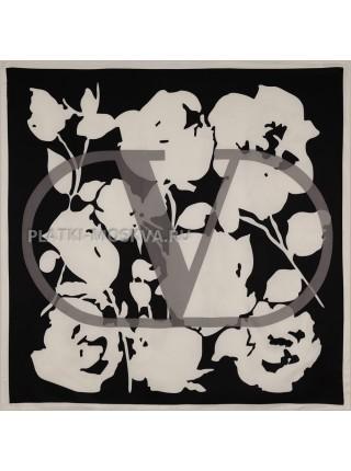 """Платок Valentino шелковый черный с белым """"Logo"""" 3651"""