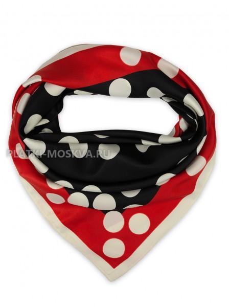 """Платок Valentino шелковый черный с красным """"Горох"""" 3585"""