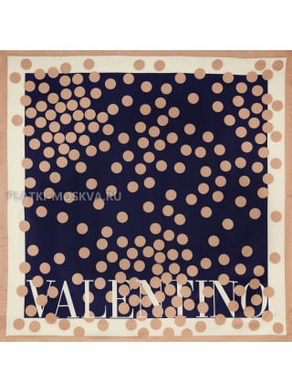 "Платок Valentino шелковый темно-синий ""Горох"" 3581"
