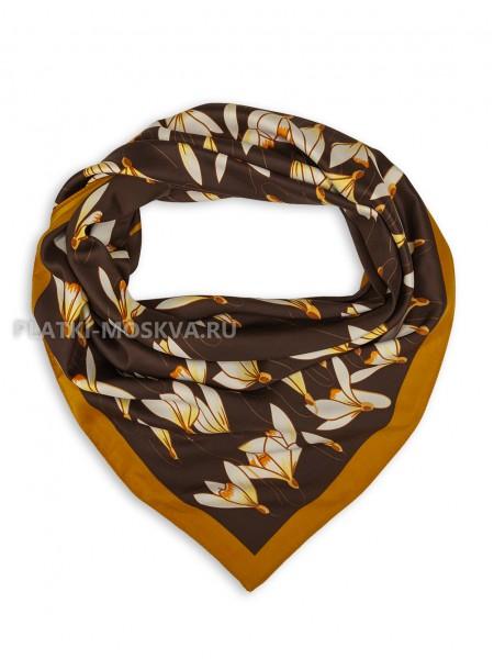"""Платок Valentino шелковый темно-коричневый """"Подснежники"""" 3567"""
