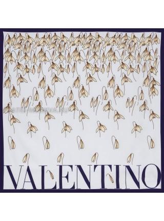 """Платок Valentino шелковый голубой """"Подснежники"""" 3561"""