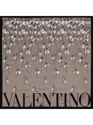 """Платок Valentino шелковый серый """"Подснежники"""" 3560"""