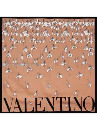 """Платок Valentino шелковый лиловый """"Подснежники"""" 3566"""