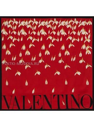 """Платок Valentino шелковый красный """"Подснежники"""" 3565"""