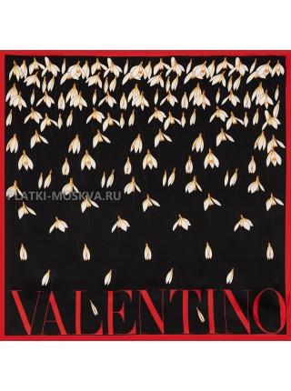 """Платок Valentino шелковый черный """"Подснежники"""" 3564"""