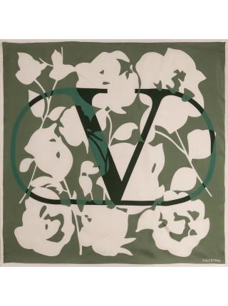 "Платок Valentino шелковый зеленый ""Logo"" 1531-90"