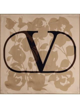 "Платок Valentino шелковый бежевый ""Logo"" 1530-90"