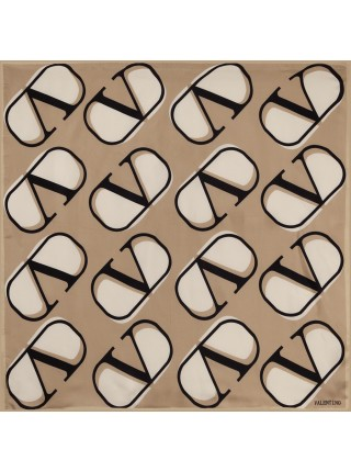 """Платок Valentino шелковый светло-коричневый """"Logo"""" 1532-90"""