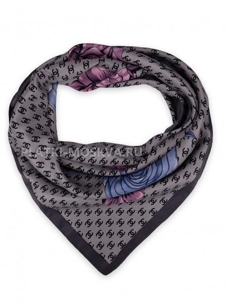 """Платок Chanel шелковый серый """"Цветы"""" 3679"""